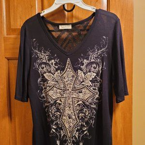 Angels & Diamonds womens lace gem shirt large